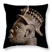 Ife Bronze Royal Head Portrait Throw Pillow