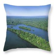 Iguacu River Above Iguacu Falls Brazil Throw Pillow