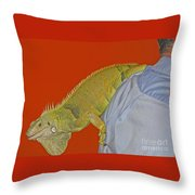Iguana By The Tail Throw Pillow