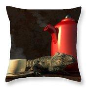Iguana Coffee Throw Pillow
