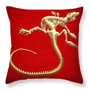 Iguana Skeleton In Gold On Red  Throw Pillow