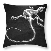 Iguana Skeleton In Silver On Black  Throw Pillow