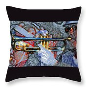 The Trumpet Player Throw Pillow