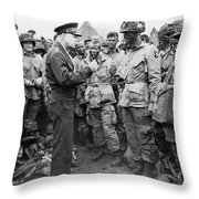 Ike With D-day Paratroopers Throw Pillow