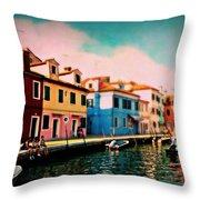 Il Colorato Villaggio Throw Pillow