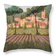 Il Villaggio Tra I Campi Di Lavanda Throw Pillow