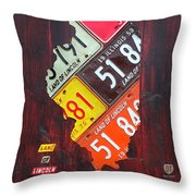 Illinois License Plate Map Throw Pillow