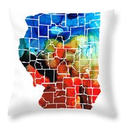 Illinois - Map Counties By Sharon Cummings Throw Pillow