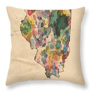 Illinois Map Vintage Watercolor Throw Pillow