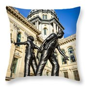 Illinois Police Officers Memorial In Springfield Throw Pillow by Paul Velgos