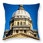 Illinois State Capitol Dome In Springfield Illinois Throw Pillow