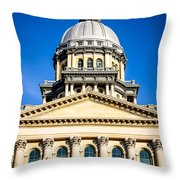 Illinois State Capitol In Springfield Throw Pillow