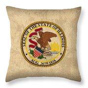 Illinois State Flag Art On Worn Canvas Throw Pillow