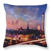 Illuminated Berlin Skyline At Dusk  Throw Pillow