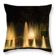 Illuminated Dancing Fountains Throw Pillow by Sally Weigand