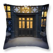 Illuminated Doorway To A Timber Framed Tudor House Or Mansion At Throw Pillow