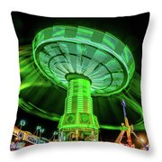 Illuminated Fair Ride With Blurred Neon Throw Pillow
