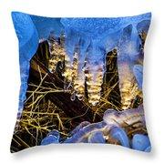 Illuminated Icicles At Sunset Throw Pillow