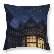 Illuminated Windows Of A Turret In A Timber Framed Tudor House Throw Pillow