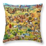 Illustrated Map Of Arizona Throw Pillow