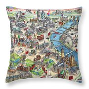 Illustrated Map Of London Throw Pillow