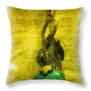 Illustrated Turquoise Heart I Throw Pillow