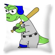 Illustration Of A Brontosaurus Baseball Throw Pillow by Stocktrek Images