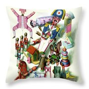 Illustration Of A Group Of Children's Toys Throw Pillow