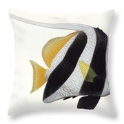 Illustration Of A Pennant Coralfish Throw Pillow by Carlyn Iverson