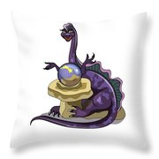 Illustration Of A Plateosaurus Fortune Throw Pillow