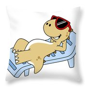 Illustration Of A Sunbathing Throw Pillow by Stocktrek Images