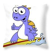 Illustration Of A Surfing Spinosaurus Throw Pillow