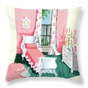 Illustration Of A Victorian Style Pink And Green Throw Pillow