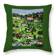 Illustration Of A Village Throw Pillow