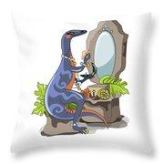 Illustration Of An Iguanodon Putting Throw Pillow