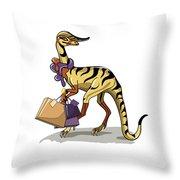 Illustration Of An Iguanodon Throw Pillow