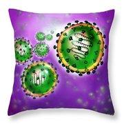 Illustration Of Sars Virus Throw Pillow by Jim Dowdalls