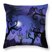 Illustration Print Of Spooky Forest Of Curly Trees Throw Pillow