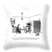 I'm Going To Get My Old Dog Throw Pillow by George Booth