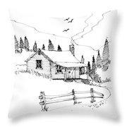 Imagination 1993 - Mountain Cabin Throw Pillow by Richard Wambach