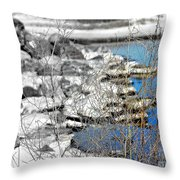 Imagined Snow At Hereford Inlet Throw Pillow