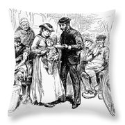 Immigrant Inspection, 1883 Throw Pillow