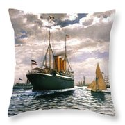 Immigrant Ship, 1893 Throw Pillow
