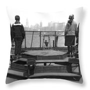 Immigrants At Ellis Island Throw Pillow