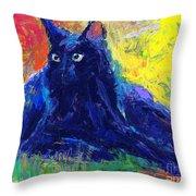 Impasto Black Cat Painting Throw Pillow
