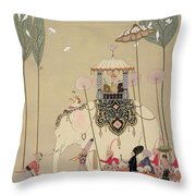 Imperial Procession Throw Pillow by Georges Barbier