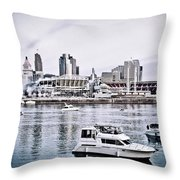 Implosion Of River Front Stadium Throw Pillow