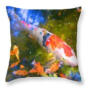 Impressionism  Koi 2 Throw Pillow
