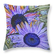 Impressionism Sunflowers Throw Pillow