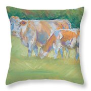 Impressionist Cow Calf Painting Throw Pillow
